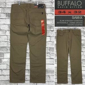 NWT Buffalo SAM-X Mens Size 34 x 32 Slim Straight Stretch Mens Brown Denim Jeans